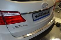 Накладка на задний бампер Hyundai Grand Santa Fe 3 (защитная накладка бампера Хендай Гранд Санта Фе 3)