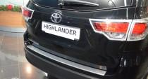 Накладка на задний бампер Toyota Highlander 3 (защитная накладка бампера Тойота Хайлендер 3)