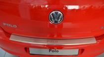 Накладка на задний бампер Фольксваген Поло 5 хэтчбек (защитная накладка бампера Volkswagen Polo 5 Hatchback)
