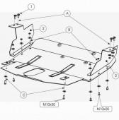 Защита картера Форд Транзит 6 задний привод (защита двигателя Ford Transit 6 задний привод)