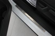 Накладки на пороги Фольксваген Гольф 6 Плюс (защитные накладки V
