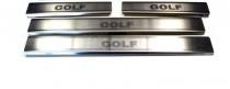 Накладки на пороги Фольксваген Гольф 6 3Д (защитные накладки Volkswagen Golf 6 3D)