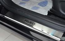 Накладки на пороги Шевроле Авео Т300 (защитные пороги Chevrolet Aveo T300)