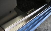 Накладки на пороги Шевроле Лачетти хэтчбек (защитные накладки Chevrolet Lacetti hb)