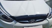 Мухобойка капота Хендай Акцент 4 короткая (дефлектор на капот Hyundai Accent 4 2010-)