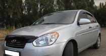 Дефлектор на капот Хендай Акцент 3 (мухобойка капота Hyundai Accent 3)