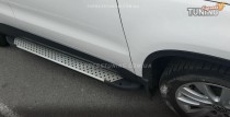 Пороги Фольксваген Тигуан (пороги для Volkswagen Tiguan стиль Almond серые)
