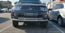 Can Otomotiv Дуга переднего бампера Митсубиси Паджеро Спорт 2 двойная (защита под бампер Mitsubishi Pajero Sport 2)