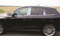 Хромированные молдинги дверных стоек Ауди Q5 (хром молдинги на стойки Audi Q5)