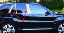 Хромированные молдинги дверных стоек БМВ Х5 Е53 (хром молдинги на стойки BMW X5 E53)