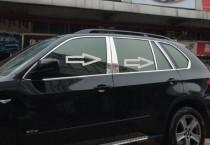 Хромированные молдинги дверных стоек БМВ Х5 Е70 (хром молдинги на стойки BMW X5 E70)