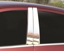 Хромированные молдинги дверных стоек Фиат Албеа (хром молдинги на стойки Fiat Albea)
