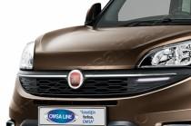 Хром накладки на решетку радиатора Fiat Doblo 2 (хромированные накладки на решетку радиатора Фиат Добло 2)