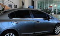 Хромированные молдинги стекол Хонда Цивик 9 седан (хром нижние молдинги стекол Honda Civic 9 4d)