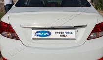 Хромированная накладка на багажник Хендай Акцент 4 (хром накладка над номером Hyundai Accent 4)