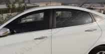 Хромированные молдинги стекол Хендай Акцент 4 (хром нижние молдинги стекол Hyundai Accent 4)