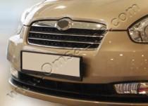 Хром накладки на решетку радиатора Хендай Акцент 3 (хромированные накладки на решетку радиатора Hyundai Accent 3)