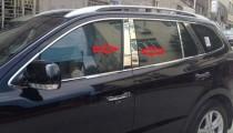 Хромированные молдинги дверных стоек Хюндай Санта Фе 2 (хром молдинги на стойки Hyundai Santa Fe 2)