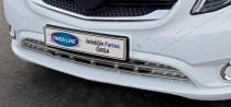 Хром накладки на передний бампер Мерседес Вито W447 (хром молдинги переднего бампера Mercedes Vito W447)