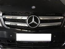 Хром накладки на решетку радиатора Mercedes Vito W639 рестайл (хромированные накладки на решетку радиатора Мерседес Вито W639)
