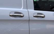 Хром накладки на ручки Мерседес Вито W447 (хромированные накладки на дверные ручки Mercedes Vito W447)