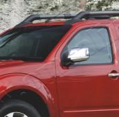 Хром накладки на зеркала Nissan Navara D40 с повторителями (хромированные накладки на боковые зеркала Ниссан Навара D40 с повтор