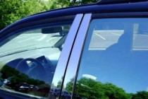Хромированные молдинги дверных стоек Ниссан Навара D40 (хром молдинги на стойки Nissan Navara D40)