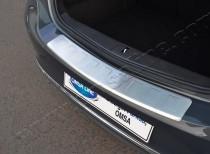Матовая накладка на задний бампер Опель Астра J (матированная накладка заднего бампера Opel Astra J)