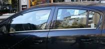 Хромированные молдинги стекол Опель Корса Д (хром нижние молдинги стекол Opel Corsa D)