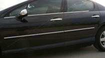 Хромированные молдинги стекол Пежо 407 (хром нижние молдинги стекол Peugeot 407)