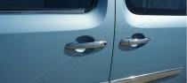 Хром накладки на ручки Рено Кенго 2 (хромированные накладки на дверные ручки Renault Kangoo 2)