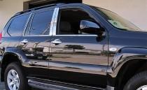 Хромированные молдинги дверных стоек Тойота Ленд Крузер Прадо 120 (хром молдинги на стойки Toyota Land Cruiser Prado 120)