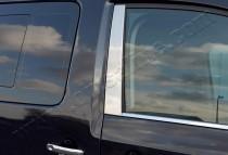 Хромированные молдинги дверных стоек Фольксваген Кадди 3 (хром молдинги на стойки Volkswagen Caddy 3)
