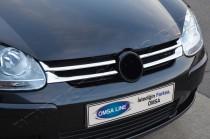 Хром накладки на решетку радиатора Фольксваген Гольф 5 (хромированные накладки на решетку радиатора Volkswagen Golf 5)