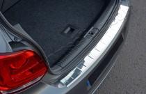Хром накладка на задний бампер Фольксваген Поло 5 (хромированная накладка заднего бампера Volkswagen Polo 5)