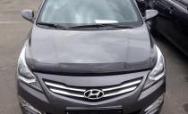 Дефлектор на капот Хендай Акцент 4 рестайл (мухобойка капота Hyundai Accent 4 2014-)