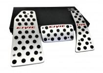 JTEC Накладки на педали для Honda Civic 8 cедан АКПП (алюминиевые накладки для педалей Хонда Цивик седан)