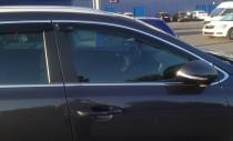 Ветровики с хром молдингом Киа Cпортейдж 4 (дефлекторы окон с хромом Kia Sportage 4)
