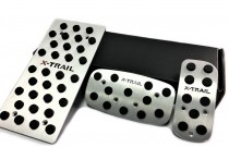 Пластины на педали Ниссан Икс-Трейл Т32 АКПП (алюминиевые пластинки педалей Nissan X-Trail T32)