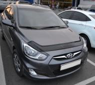Дефлектор капота Хендай Акцент 4 (мухобойка Hyundai Accent 4)