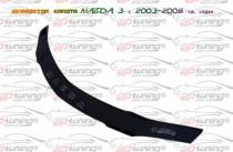 Дефлектор на капот Мазда 3 БК седан (мухобойка капота Mazda 3 BK sedan)