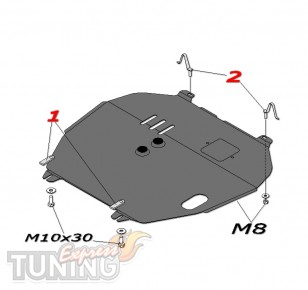 Защита поддона Mitsubishi Outlander XL (защита на мотор Митсубис