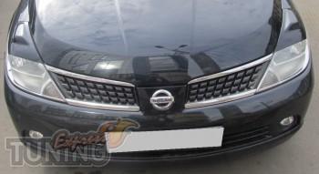 Декоративные реснички на фары Ниссан Тиида (Nissan Tiida)