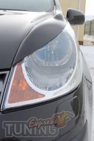 Реснички на фары Ниссан Ноут (накладки передних фар Nissan Note)