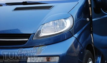 Реснички на передние фары Опель Виваро (накладки фар Opel Vivaro