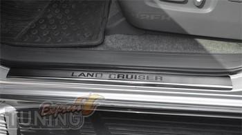 Накладки на пороги Тойота Ленд Крузер Прадо 120 (защитные наклад