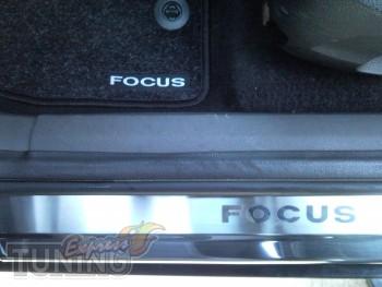 Накладки на пороги Форд Фокус 2 5Д (защитные накладки Ford Focus