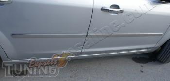 Хромированные молдинги дверей Форд Фокус 2 (хром накладки на бок