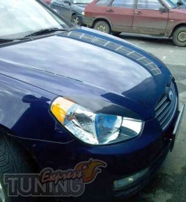Реснички на фары Hyundai Accent (накладки на передние фары Хенда