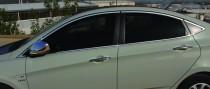 Хром окантовка стекол Хендай Акцент 4 полный комплект